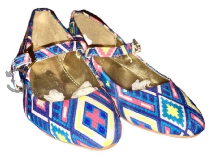 Zapatos flats t 15 p/ niña | azul tela zapatillas
