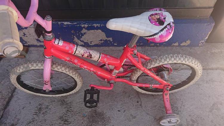 Bicicleta niña minnie mouse rosa