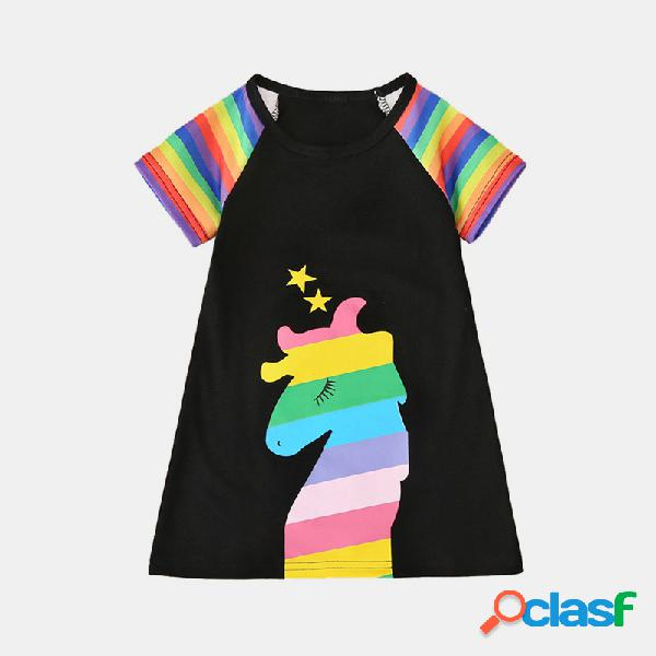 Mangas cortas con estampado de rayas de unicornio para niña casual vestido para 2-10y