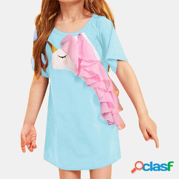Mangas cortas de tul de unicornio de niña de manga corta vestido para 1-7y