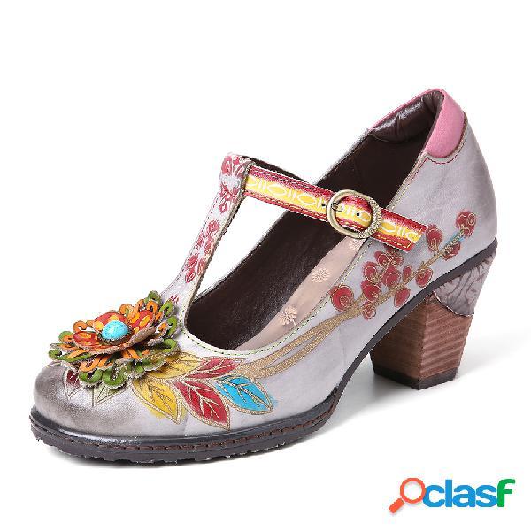 Zapatos de tacón con correa de hebilla y correa de cuero con estampado floral retro y hebilla de goma