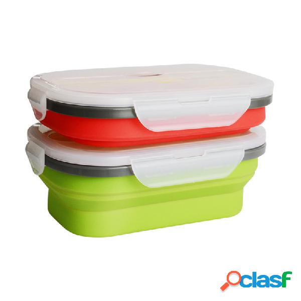 950ml plegable portátil silicona almuerzo caja bento caja a prueba de fugas de gran capacidad para horno microondas