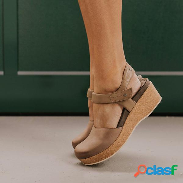 Plataforma de bucle de gran tamaño vendimia con punta cerrada gancho sandalias