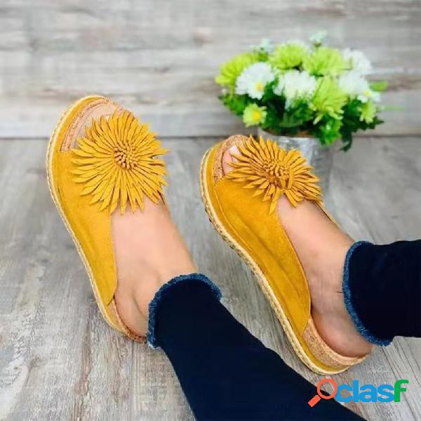 Plataforma de punta abierta mujer flores grandes de tamaño grande zapatillas