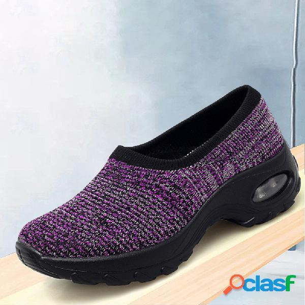 Malla de gran tamaño acolchada al aire libre deslizamiento en zapatos de plataforma para mujer