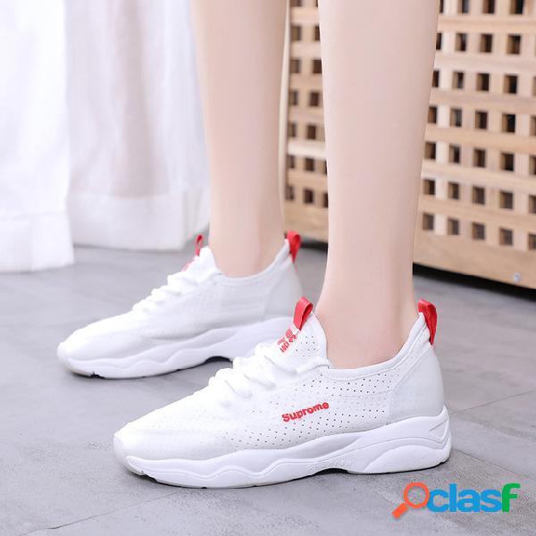 Zapatos blancos pequeños zapatos de malla transpirable para mujer temporada new wild flat casual running shoes