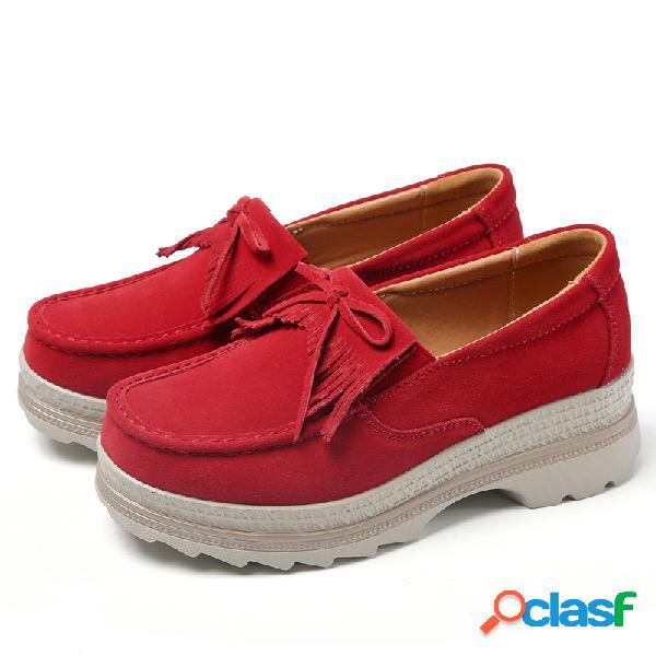 Zapatos casuales de plataforma de borla antideslizantes transpirables de gran tamaño