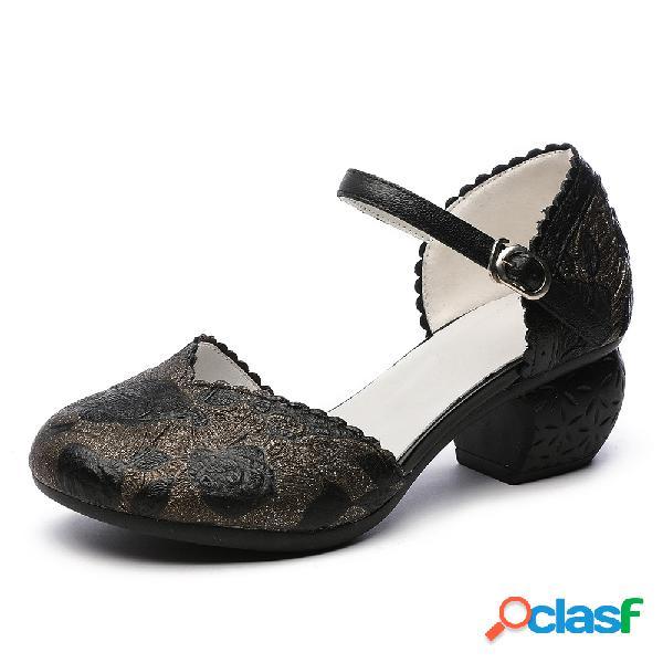 Socofy zapatos de tacón d'orsay con hebilla floral en relieve y correa de tobillo con hebilla floral en relieve retro