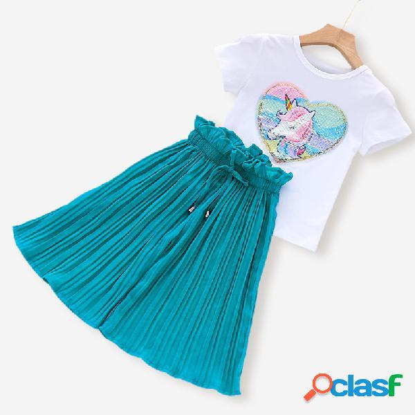 Tops de manga corta con lentejuelas de unicornio para niña + gasa suelta pantalones conjunto de ropa casual para 3-11y