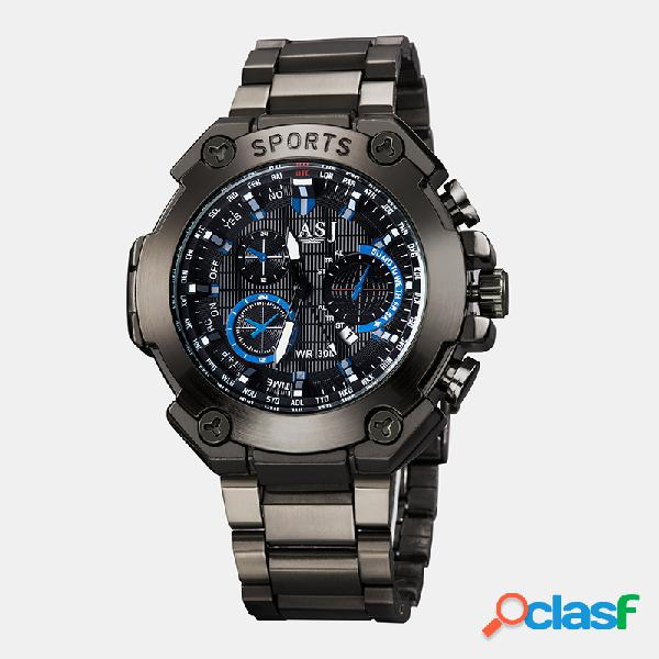 Relojes deportivos de moda para hombre con correa de acero inoxidable de seis pines impermeable reloj de cuarzo