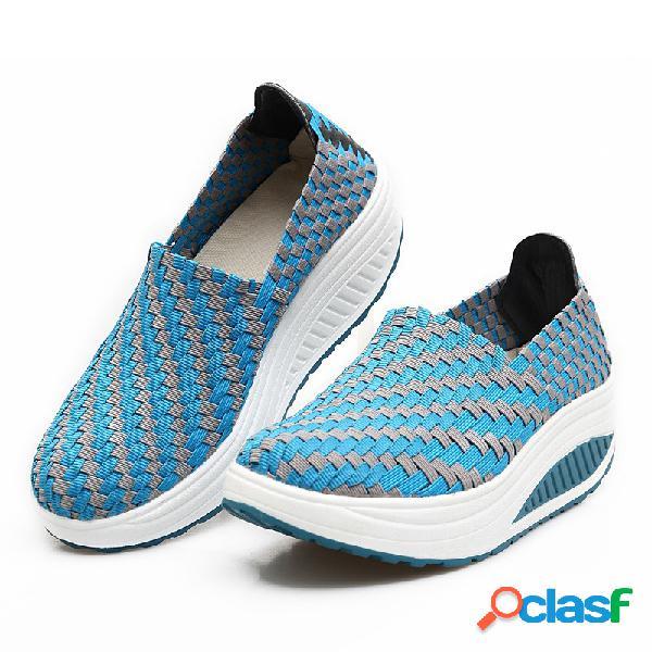 Plataforma de punto rocker sole casual zapatos para caminar planos