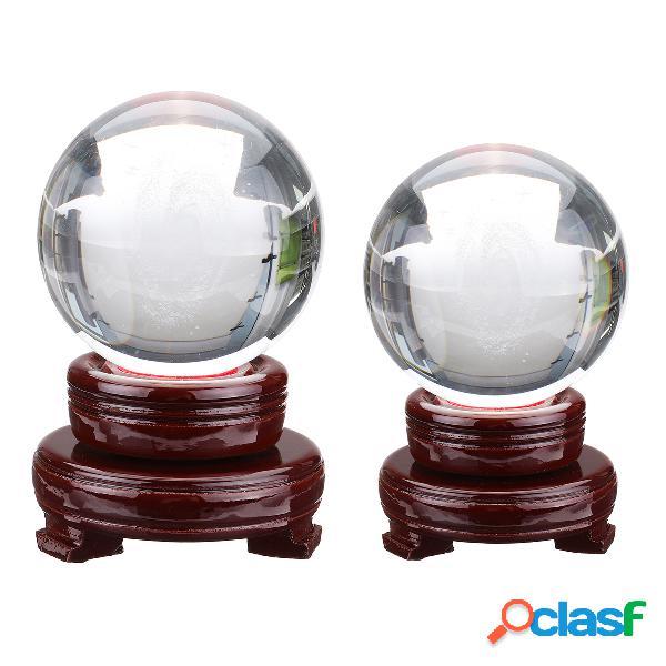 Bola de galaxia de cristal con base de madera, accesorios de fotografía, escritorio decorativo, artesanía