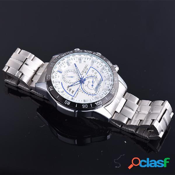 Longbo relojes para hombre con encanto, de acero inoxidable, plateados y con impermeable relojes de plata para hombres