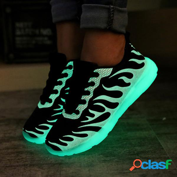 Zapatos para hombre y mujer lovers fluorescent light up sneaker lace up casual running shoes