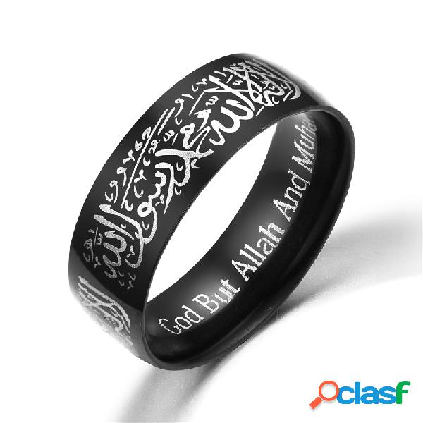 Moda musulmana allah words anillos de acero inoxidable religiosos 8mm multicolor anillos de oro para hombres mujeres