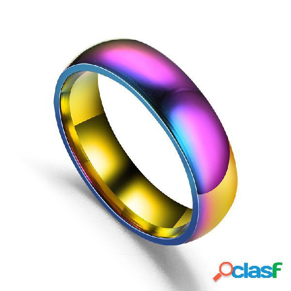 Pareja de moda anillos de dedo colorido superficie lisa de acero inoxidable joyería simple para mujeres hombres