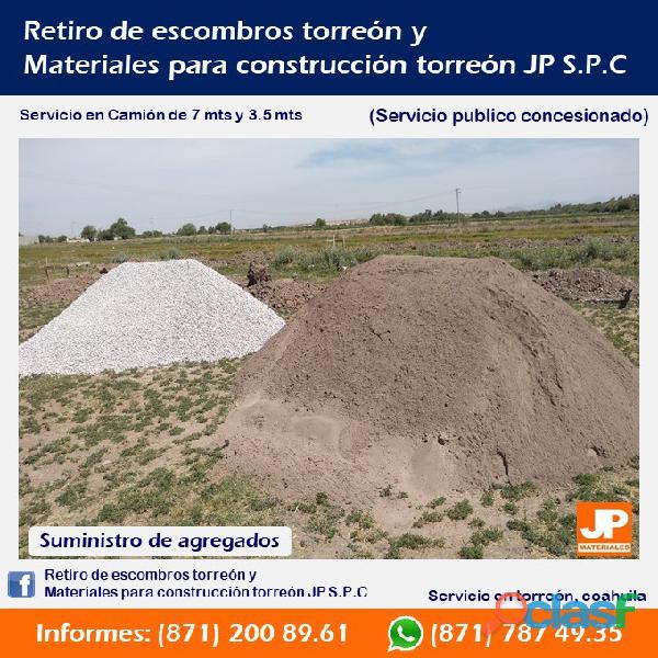Arena y grava en torreón, retiro de escombro en torreón,materiales para construcción torreón JP SPC