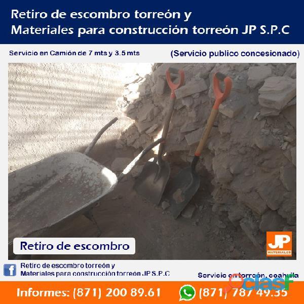 Retiro de escombro en torreón, arena y grava en torreón jp spc servicio publico concesionado