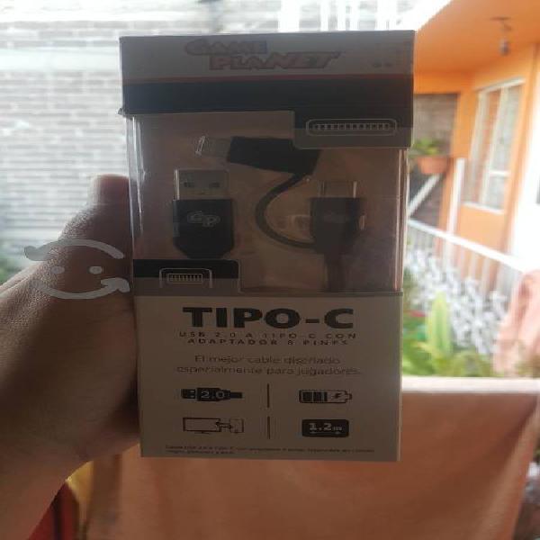 cable tipo c y adaptador para iphone