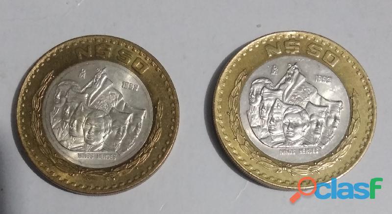 Venta de monedas de colección nuevos pesos $50 y $20