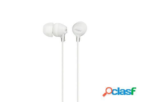 Sony audífonos mdr-ex15lp/w, alámbrico, 1.2 metros, blanco