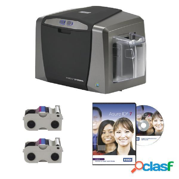 Hid dtc1250e, kit de impresora de credenciales una cara, 300 x 300 dpi, usb 2.0, negro/gris