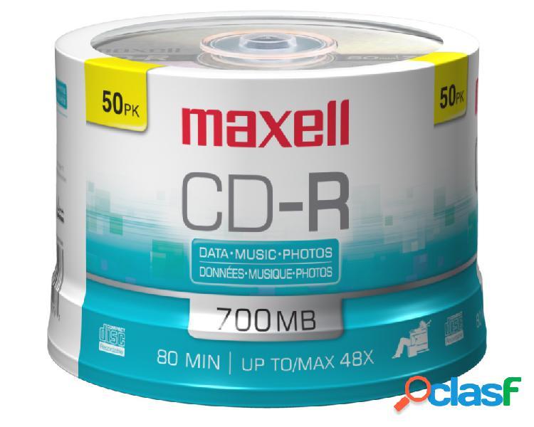 Maxell torre de discos virgenes para cd, cd-r, 48x, 700mb, 50 discos