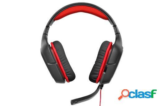 Logitech audífonos gamer con micrófono g230, alámbrico, 2.3 metros, negro/rojo