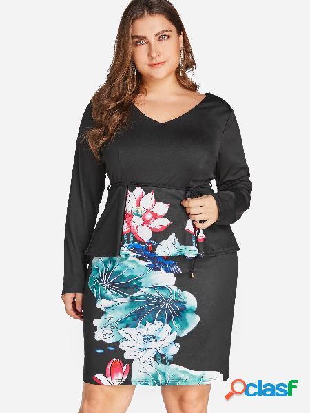 Tallas grandes con estampado floral en mini vestido dividido