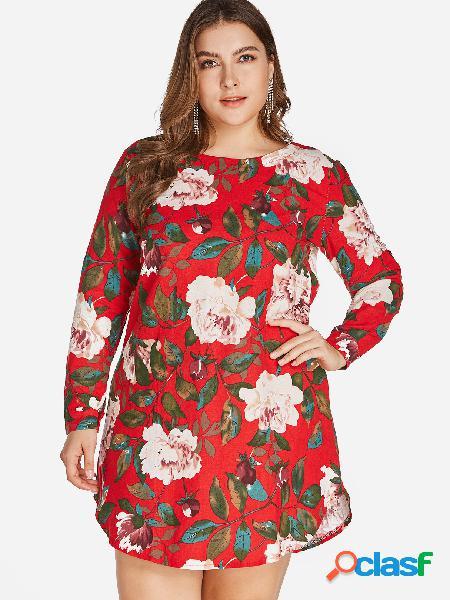 Tallas grandes, mini vestido con estampado floral rojo