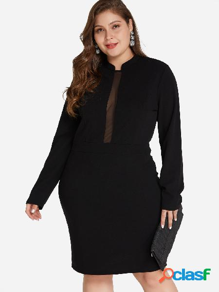 Tallas grandes, mini vestido liso de malla negro
