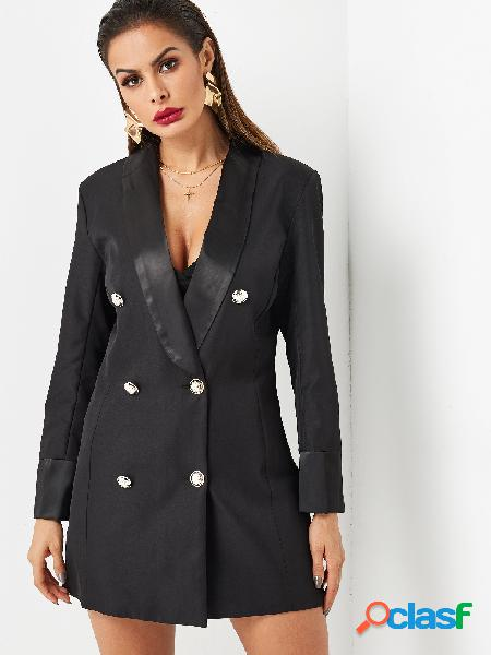 Black lapel collar double breasted slim fit blazer dress