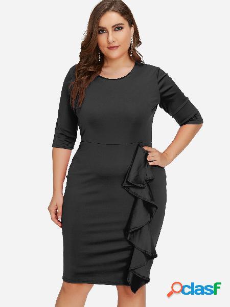 Tallas grandes con volantes en detalle mini vestido negro