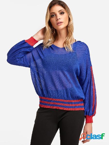 Manga larga con cuello en v azul liso camisetas con capucha semi transparentes