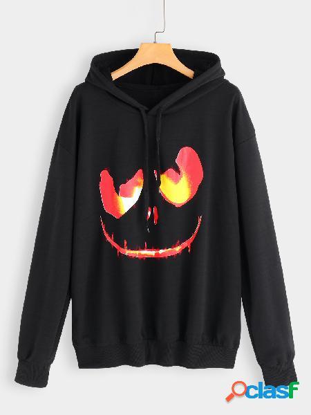 Sudadera con capucha negra impresa de talla grande para halloween