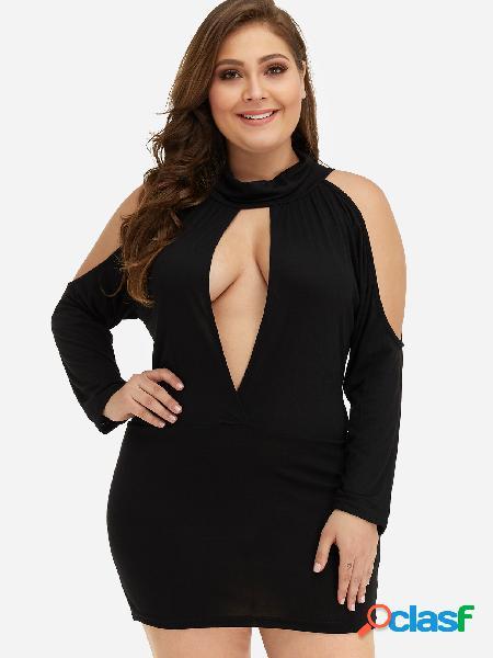 Tallas grandes, negro, corte mini vestido con hombros descubiertos