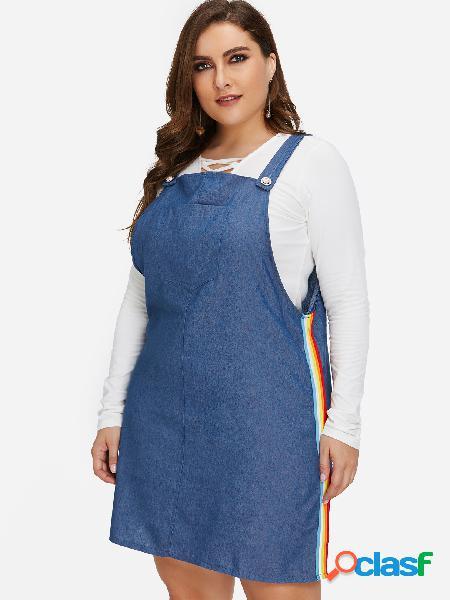 Tallas grandes con raya azul y mini vestido de mezclilla