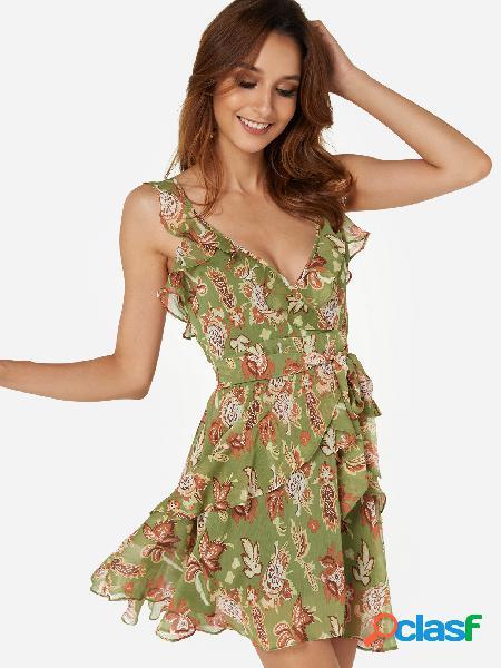 Vestidos a media pierna con volantes dobladillo y estampado floral verde