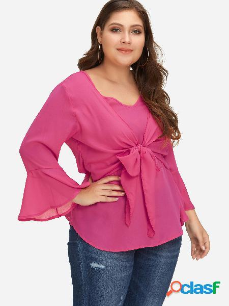 Tallas grandes con frente en la parte delantera de rose blusa con mangas