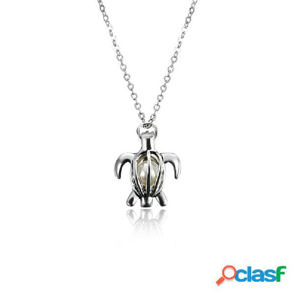 Collar retro de perlas de moda hueco de la tortuga abierta puede abrir la joyería pendiente de las mujeres