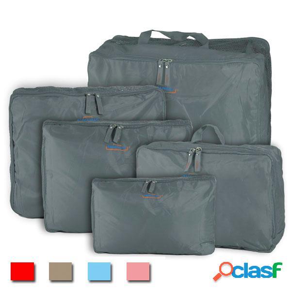 Pack de 5 bolsas de almacenaje de nylón con cremallera