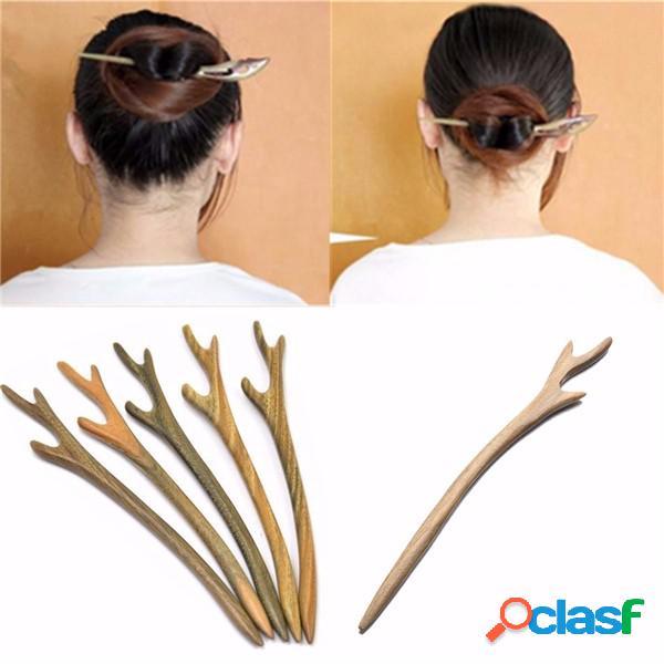 1 pieza de madera hechos a mano cabello pin palo palillo tallado en madera cabello accesorios