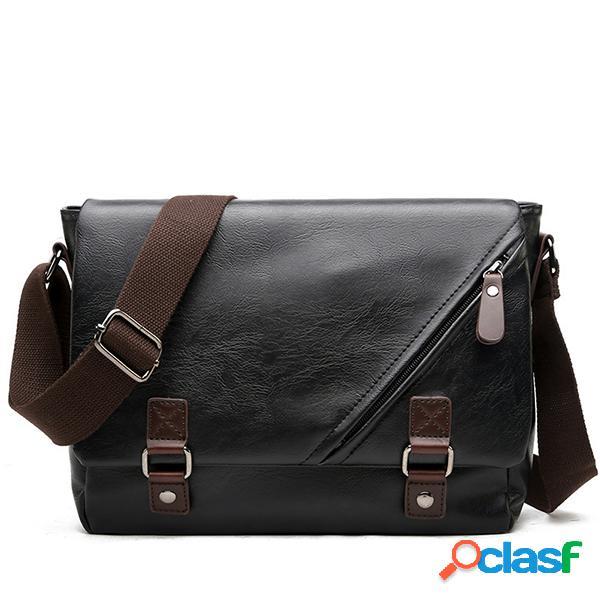 Mensaje de cuero pu bolsa solid business crossbody bolsa hombro bolsa para hombres
