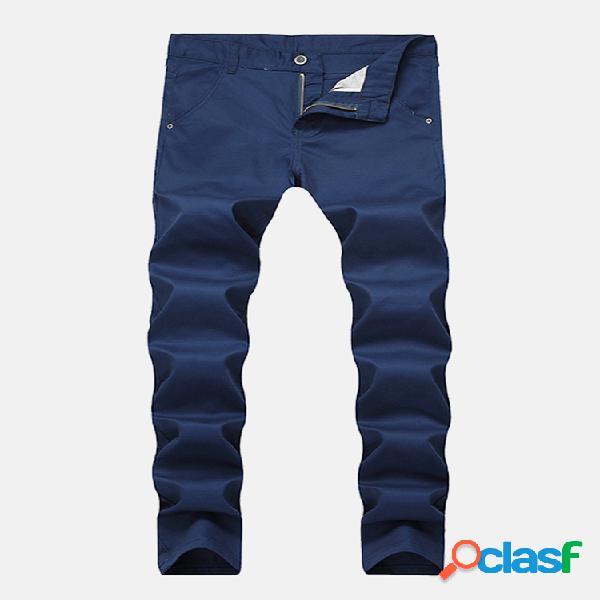 Algodón transpirable con cremallera plegable para hombre moda delgado color sólido casual jeans