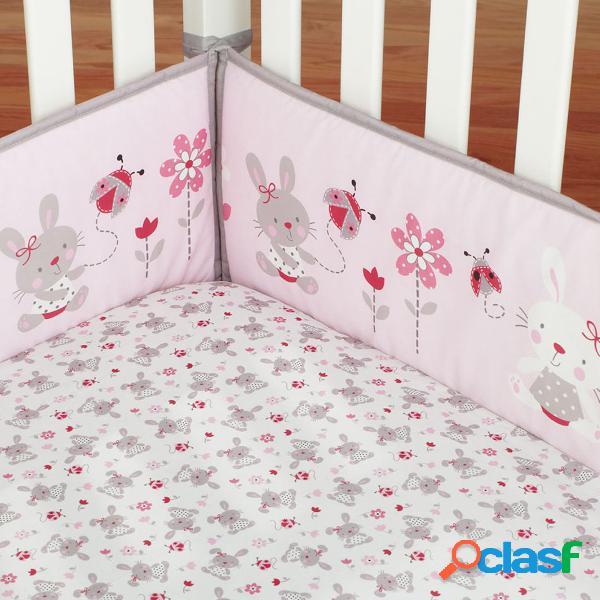 4 piezas conejo bebé cuna bebé cuna parachoques protector de seguridad niño vivero conjunto