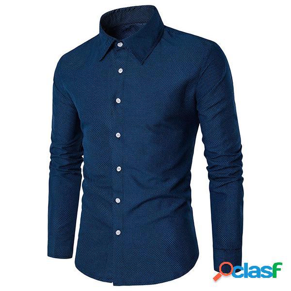 Camisa casual de talla extra de lunares con mangas largas de negocio de color sólido de algodón para hombres