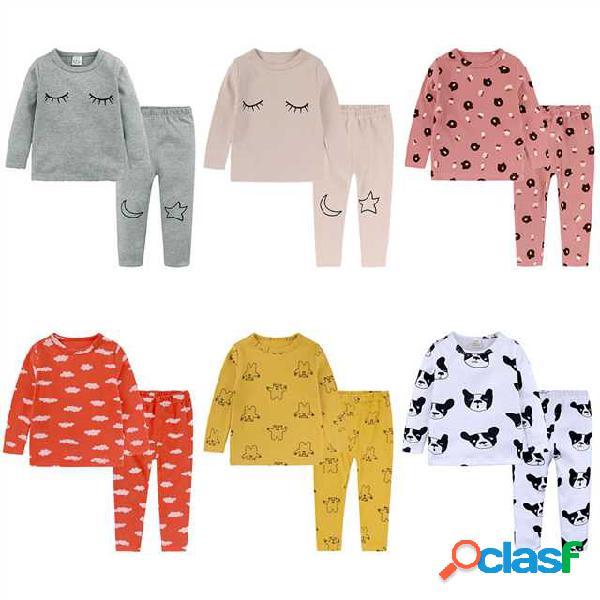 Bebés y bebés ropa de dormir de manga larga ropa de ocio para niños pijamas set de ropa de niños de niña conjuntos