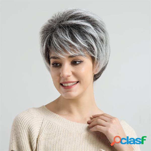 Pelucas de pelo corto para mujeres pelucas de pelo sintéticas rectas de color negro, blanco, 9 pulgadas