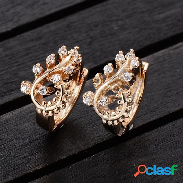 Moda oreja stud pendientes chapado en oro blanco ziron petalage pendientes joyería elegante para mujer