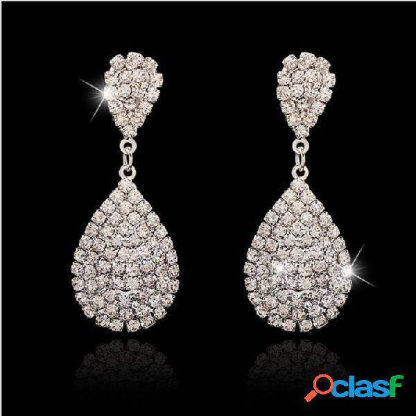 Moda oreja gota pendientes plata gota de agua de oro flash rhinestone pendientes joyería elegante para mujer
